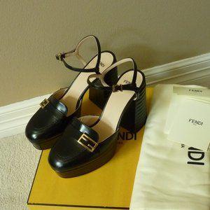 Fendi High-Heel FF Logo Platform Strap Sandals, 7